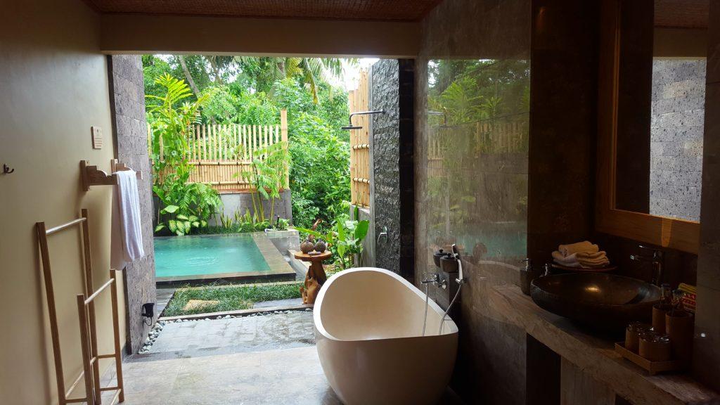 Ausblick aus dem Freiluftbadezimmer
